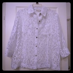 White sheer over shirt with shell buttons